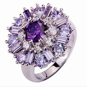 Amethyst and white topaz silver ring
